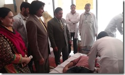 Principal RMC and MD Baitulmal pakistan and Dr Shazia visiting blood donation camp