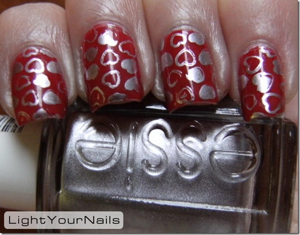 Nailmode Red Gaia stamped with DRK-A plate and Essie Nothing Else Metals