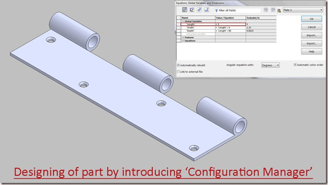 Designing of part by introducing--Configuration Manager