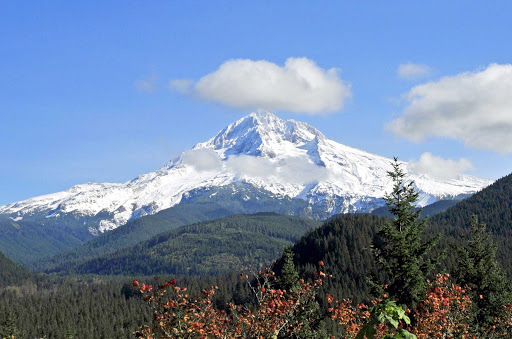 Majestic Mt. Hood rises about 50 miles outside of Portland, Oregon.