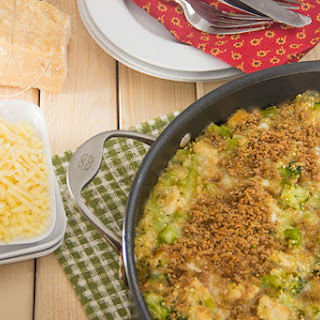 Easy Quinoa Cheddar Bake with Chicken and Broccoli.