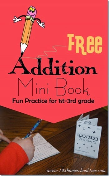 Addition Mini Book - This is such a clever idea! Kids cut and fold to make this pocket size addition book. Kids will fill in the answers to get practice and then can use it as a convenient reference. Great FREE printable math worksheets for kindergarten 1st grade 2nd grade