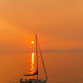 Great Salt Lake Marina by Shane Moss - Transportation Boats ( water, great salt lake, utah, sunset, marina, transportation, boat, sailboat )
