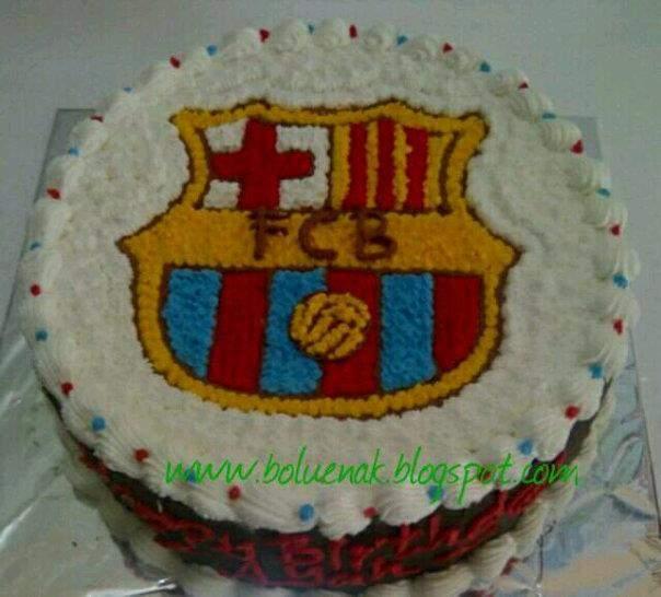 Toko Kue Bolu Enak Tart Tema Logo Bola Klub Barcelona