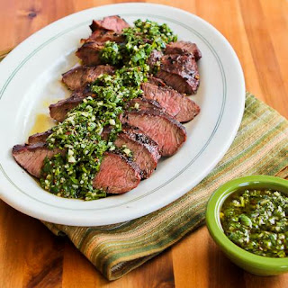 Grilled Flat Iron Steak with Chimichurri Sauce.