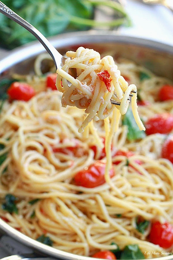 Cherry Tomato, Basil, Spinach and Parmesan Pasta --- via -- @LifeMadeSweeter.jpg