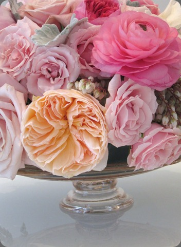 cakestand closeup blush floral design