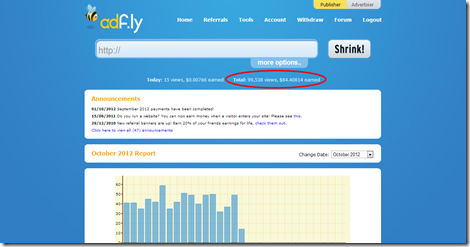 AdF.ly   The URL shortener service that pays you  Earn money for every visitor to your links.