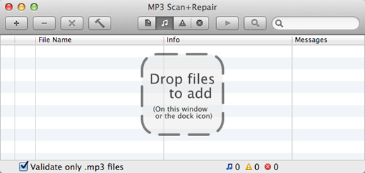 MP3 Scan+Repair main screen
