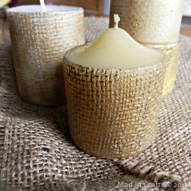 pottery barn inspired gold burlap pillar candles