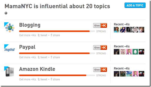 MamaNYC.net Klout Topics Page