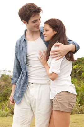 Robert Pattinson is Edward Cullen and Kristen Stewart is Bella Swan in Breaking Dawn part 1