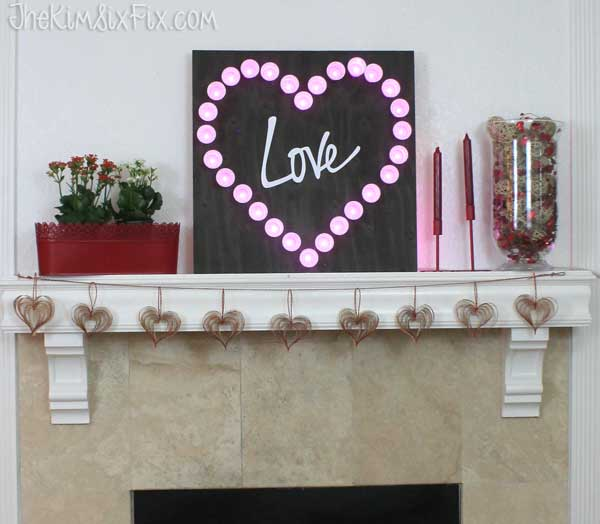 Love marquee light mantel