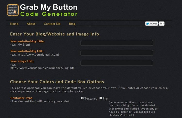 grab blog button code generator dashboard