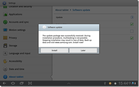 Samsung Galaxy Tab 10.1 Firmware Update - Finish download and ask to start install