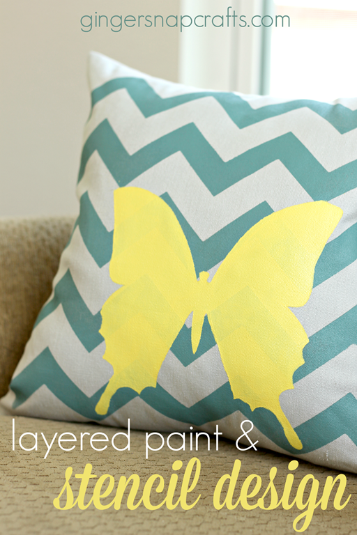 Layered Paint & Stencil Design Tutorial at GingerSnapCrafts.com #tulipforyourhome #ilovetocreate #paints #stencils