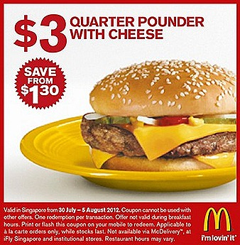 Mcdonalds $3 Quarter Pounder Cheese Burger $2 Cinnamon Melts McCafe $2 Chicken Nugget 6 piece Curry sauce  Offer Sausage Mcmuffin Egg Muffin breakfast hours July August french fries drinks promo deal