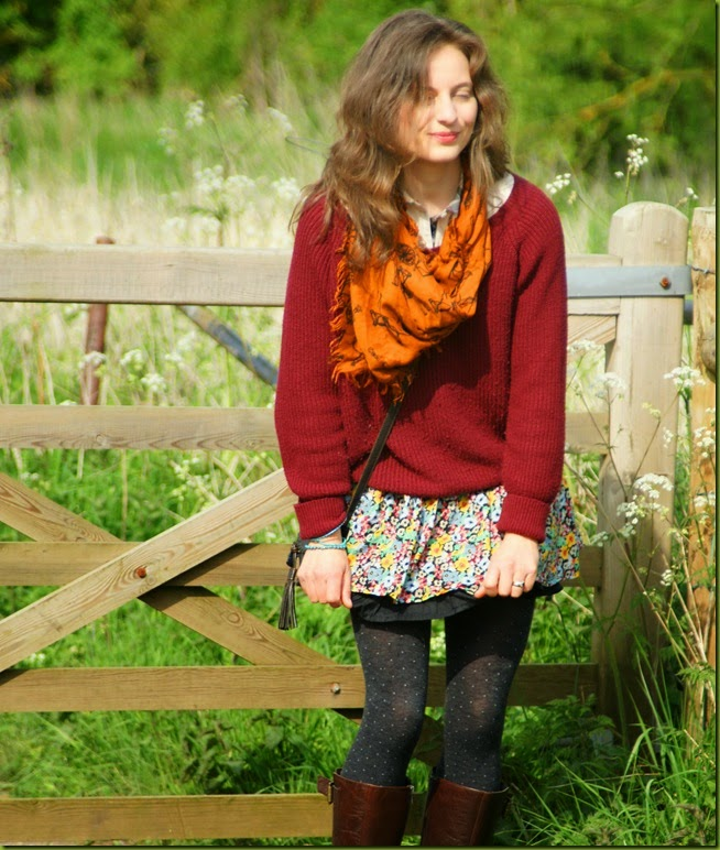 jumper and skirt combination