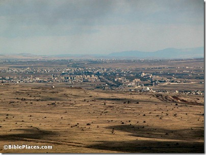 Syrian city northeast of Quneitra from Mount Bental, tb121802203