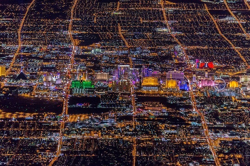 Las Vegas By Night Las Vegas De Noche As Vegas Pola: Las Vegas At Night From 8,799 Feet