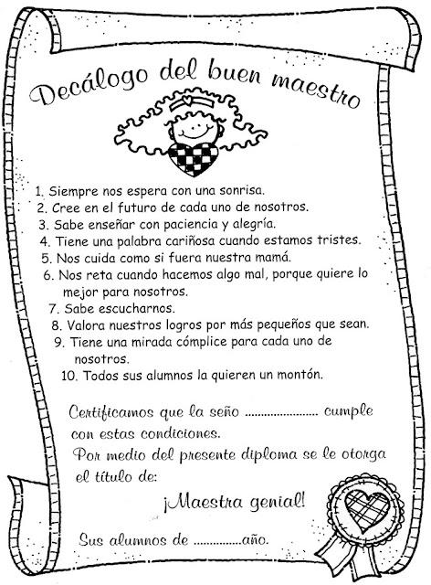 Tarjetas Dia Del Maestro Actividades Para Niños
