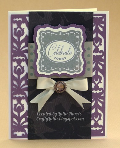 Celebrate Today:  Card using the damask overlay from Artbooking