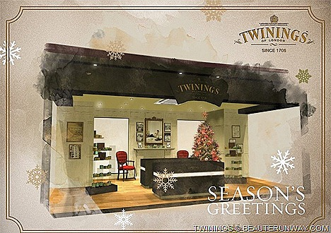Twinings Christmas Tea celebrates joyful gift Christmas free local international postagel Christmas postcards greetings quintessential British red pillar box House of Twining's Tea Boutique Parlour Gunpowder Green Tea .