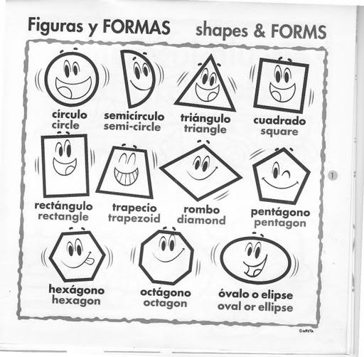 aprende y pinta con fichas la formas geometricas en ingles