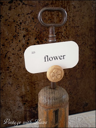 Repurposed Key Chain Card Holder - Vintage with Laces