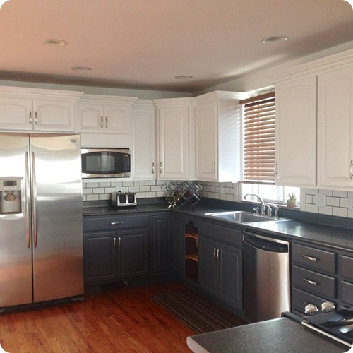 two tone gray white cabinets