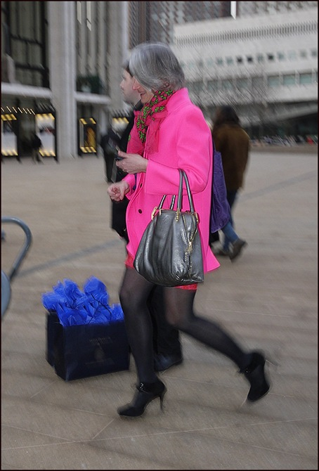 w bright pink coat grey bag pink and green scarf ol