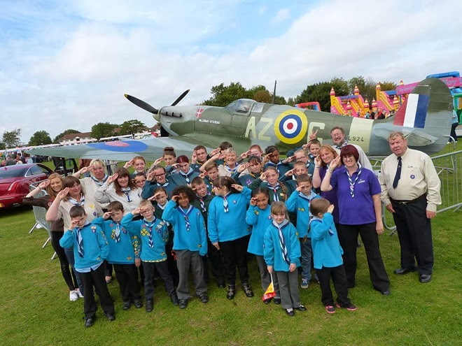 Scouts and Beavers by Spitfire plane
