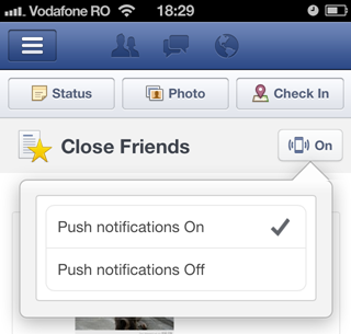 Facebook iOS app push notifications for Close Friends