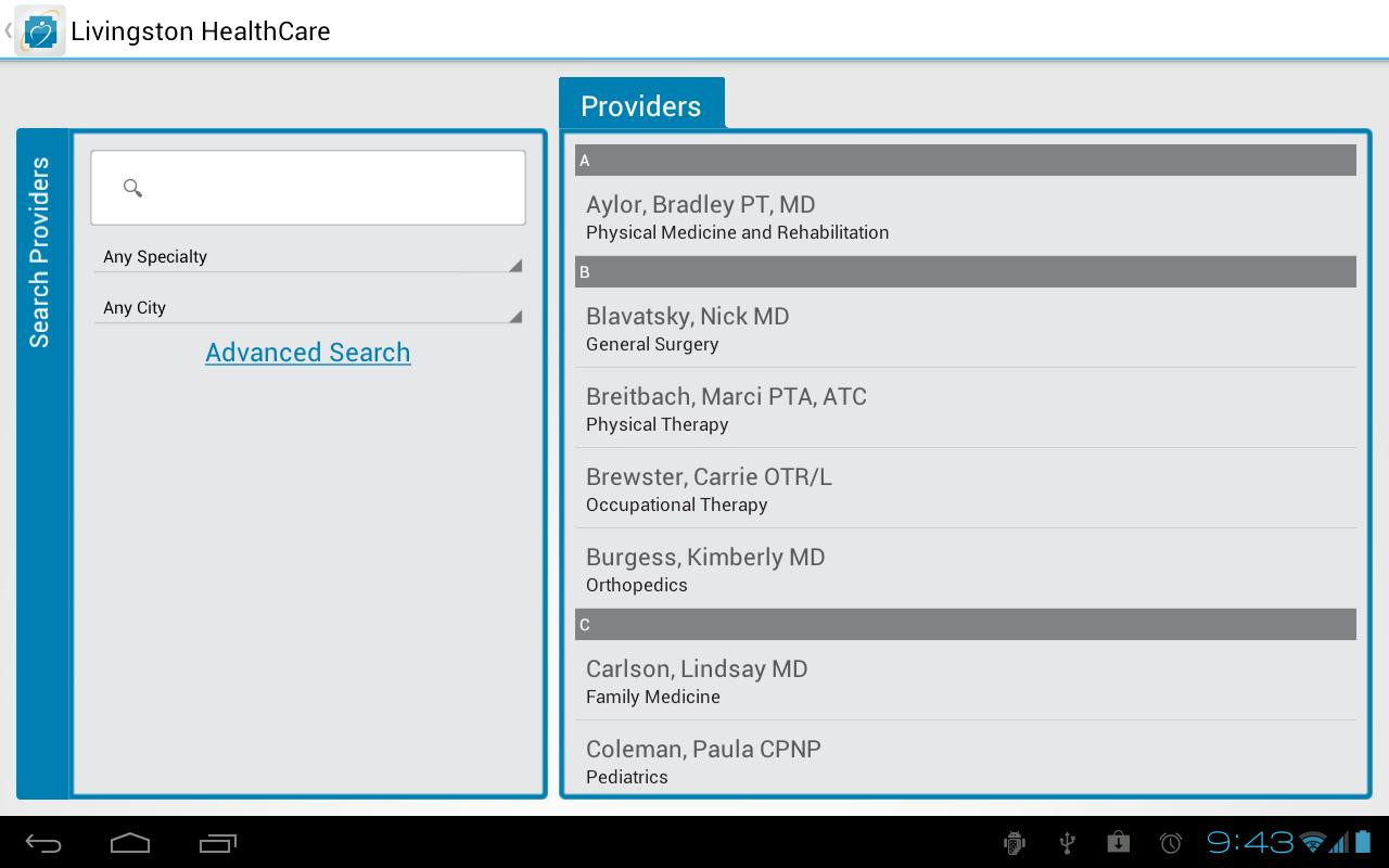 Livingston HealthCare- screenshot