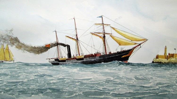 El vapor GENERAL ARMERO entrando en la Habana. Acuarela de Roberto Hernandez.JPG
