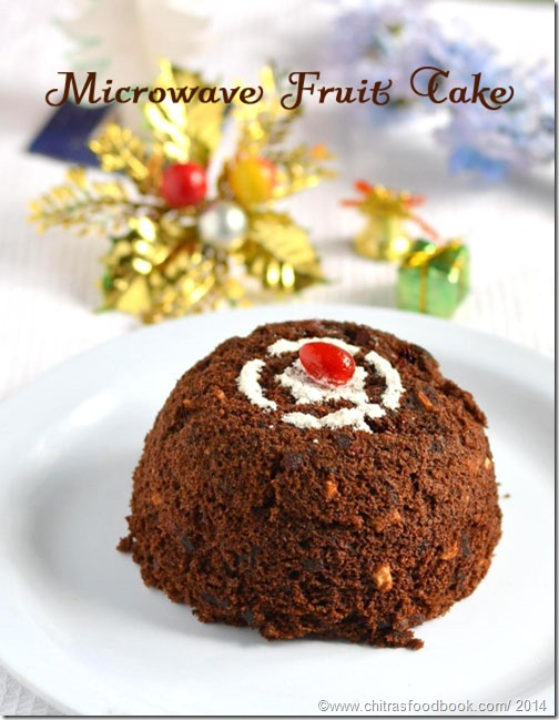 Eggless microwave fruit cake