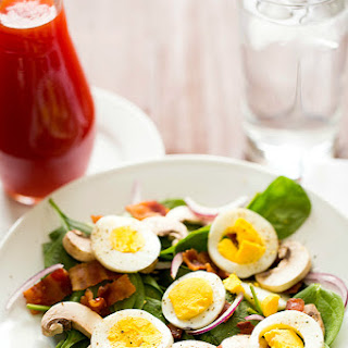 Warm Spinach Salad with Bacon, Mushrooms & Hard-Boiled Eggs