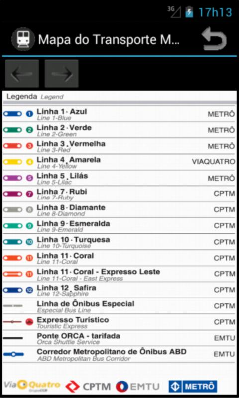 Metro Map - Sao Paulo - Brazil - screenshot