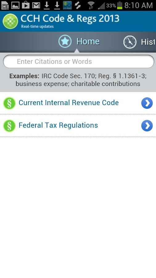 CCH Code & Regs 2013 - screenshot