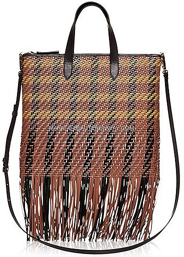 MARNI Spring Summer 2012 woven goat madras lambskin clutch bag, calf leather handbag, cross body shopper bags fringe leather Marni boutiques Paragon Hilton Hotel