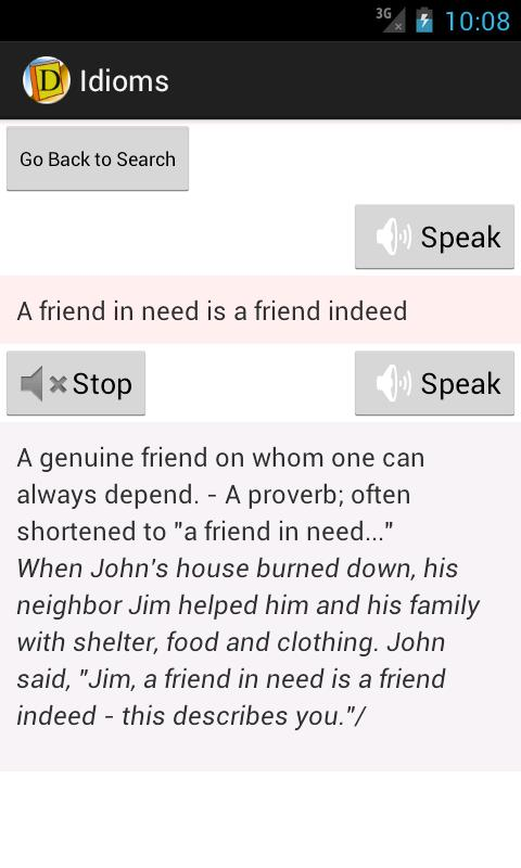 English Idioms Dictionary - screenshot