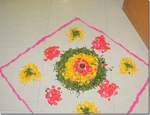 Diwali Home Decoration Flower Rangoli ideas