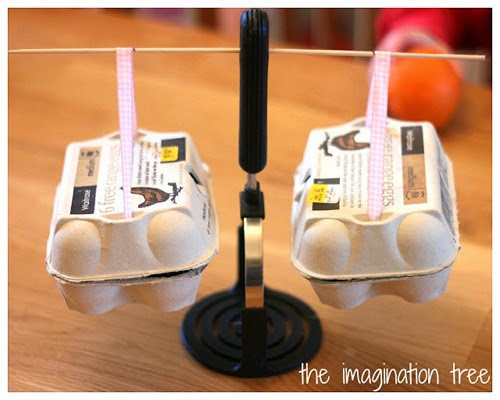 egg carton weighing scales from The Imagination Tree