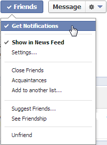 Facebook get notifications from Friends