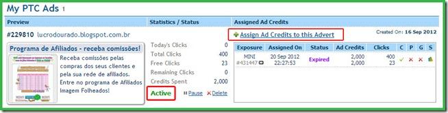 Atribuindo créditos ao seu anúncio no ClixSense ativo