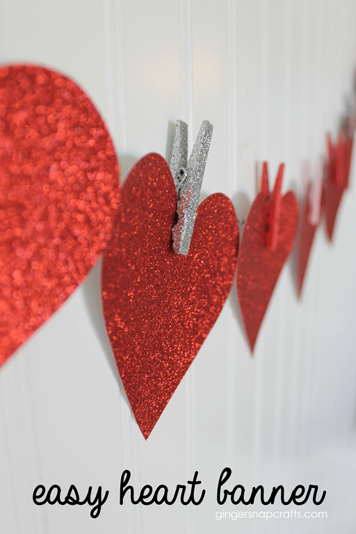 Easy Heart Banner at GingerSnapCrafts.com #heart #papercraft
