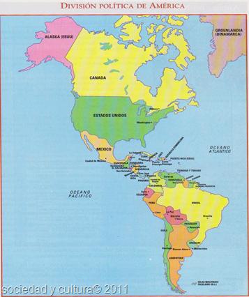 mapa division politica de america