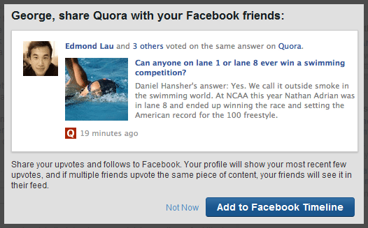 Add Quora to the Faceboook Timeline