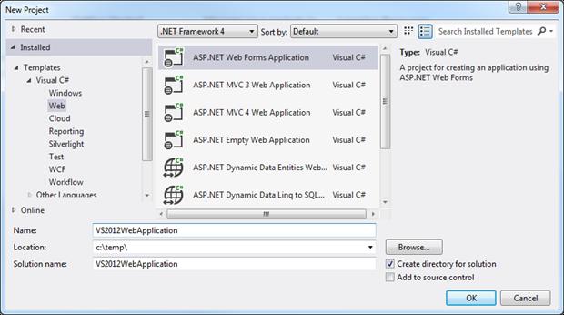 New ASP.NET Web Application in Visual Studio 2012
