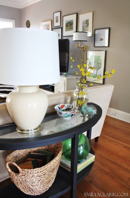 Sofa table styling for Spring